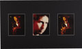 "Music Memorabilia:Photos, Bob Dylan Photo Display. Set of three rare color b&w 6"" x 8""photos of Dylan onstage, matted to an overall size of 30"" x 20""..."