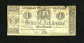 Obsoletes By State:Arkansas, (Little Rock), AR- Treasury Warrant $1 Feb. 28, 1863 Criswell 30a. The upper approximate 20% has a moisture stain plus there...