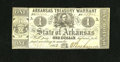 Obsoletes By State:Arkansas, (Little Rock), AR- Treasury Warrant $1 July 28, 1862 Criswell 30. This bright note for the grade exhibits a plain back and e...