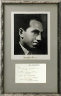 """Music Memorabilia:Autographs and Signed Items, George and Ira Gershwin Framed Signatures. Matted tribute (12"""" x 19"""") to the brilliant composers features an 8"""" x 10"""" photog..."""