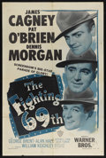 "Movie Posters:War, The Fighting 69th (Warner Brothers, R-1948). One Sheet (27"" X 41"").War. Starring James Cagney, Pat O'Brien, George Brent, A..."