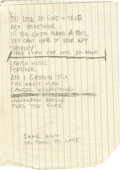 "Music Memorabilia:Autographs and Signed Items, Ron Wood Handwritten Lyrics. A sheet of composition paper folded inhalf with song lyrics for ""Far East Man,"" ""Act Together,..."