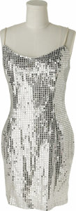 Music Memorabilia:Costumes, Diana Ross Stage Worn Dress. A shimmery silver sequined mini dressworn onstage by the singer In Excellent condition. Acco...