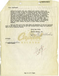 Music Memorabilia:Autographs and Signed Items, Frank Sinatra Signed 1953 Capitol Records Agreement. A two-pagesupplement to Sinatra's contract with Capitol Records dated ...