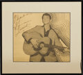 "Music Memorabilia:Autographs and Signed Items, Gene Vincent Autographed Photo. A b&w 8"" x 10"" image ofVincent, inscribed and signed by him in black marker, framed to ano..."