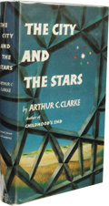 Books:First Editions, Arthur C. Clarke: The City and the Stars. (New York:Harcourt, Brace and Co., 1956), first edition, 310 pages, bluemarb...