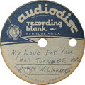"""Music Memorabilia:Recordings, Hank Williams Acetate (Audiodisc, 1950s). This unusual acetate is an 8"""" disc that plays at 78 rpm, and contains four selecti..."""