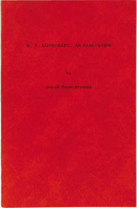 Joseph Payne Brennan: Signed Limited Edition of H. P. Lovecraft, An Evaluation. (New Haven: Macabre House, 1955), number...