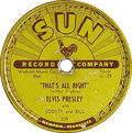 "Music Memorabilia:Recordings, Elvis Presley ""That's All Right""/""Blue Moon of Kentucky"" 78 (Sun 209, 1954). Historic first single from the King, covering R..."