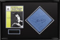 Music Memorabilia:Memorabilia, Elvis Presley Framed Scarf. A light blue scarf with a silk-screenedimage of Elvis' signature on it, one of many that Presle...