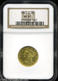 Liberty Half Eagles: , 1847-C MS61 NGC. ...