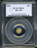 California Fractional Gold: , 1856 Liberty Round 25 Cents, BG-230, Low R.4, MS62 PCGS. ...