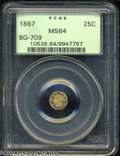 California Fractional Gold: , 1867 Liberty Octagonal 25 Cents, BG-709, R.4, MS64 PCGS. ...