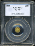 California Fractional Gold: , 1869 Liberty Octagonal 25 Cents, BG-748, R.5, MS62 PCGS. ...