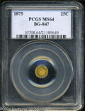 California Fractional Gold: , 1875 Indian Round 25 Cents, BG-847, R.4, MS64 PCGS. ...