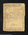 Colonial Notes:Continental Congress Issues, February 17, 1776, $2/3, Continental Congress Issue, CC-22, ...