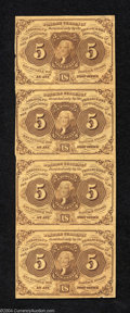 Fractional Currency:First Issue, Vertical Strip of Four Notes, First Issue 5c, Fr-1230, CU. ... (4 notes)