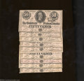 Confederate Notes:1864 Issues, Nine 1864 50 Cents Bust of Jefferson Davis, T-72, Choice Crisp ... (9 notes)