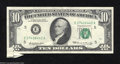 Error Notes:Attached Tabs, 1969 $10 Federal Reserve Note, Fr-2018-E, Very Fine. Two ...