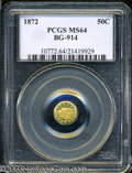 California Fractional Gold: , 1872 50C Liberty Octagonal 50 Cents, BG-914, R.4, MS64 PCGS....
