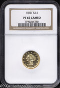 Proof Liberty Quarter Eagles: , 1868 $2 1/2 PR65 Cameo NGC. A glittering Gem with obvious ...