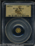 California Fractional Gold: , 1855/4 Liberty Octagonal 25 Cents, BG-106, R.3, MS64 PCGS....