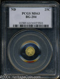 California Fractional Gold: , Undated Liberty Round 25 Cents, BG-204, R.5, MS63 PCGS. ...