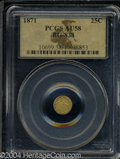 California Fractional Gold: , 1871 Liberty Round 25 Cents, BG-838, R.2, AU58 PCGS. ...