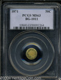 California Fractional Gold: , 1871 Liberty Round 50 Cents, BG-1011, R.2, MS63 PCGS. ...