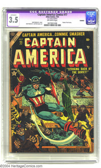 Captain America Comics #77 (Atlas, 1954) CGC Apparent VG- 3.5 Off-white pages. John Romita Sr. art. Human Torch story. C...