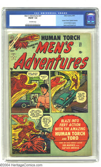 Men's Adventures #27 (Atlas, 1954) CGC FN/VF 7.0 Off-white pages. Human Torch and Toro story with appearances by Captain...