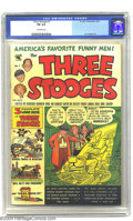 Three Stooges #1 (St. John, 1953) CGC FN 6.0 Off-white pages. First St.John issue. Hollywood Stunt Girl art by Joe Kuber...