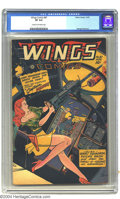Golden Age (1938-1955):Science Fiction, Wings Comics #87 (Fiction House, 1947) CGC VF 8.0 Cream tooff-white pages. George Evans art. Cover by Bob Lubbers.Overstre...