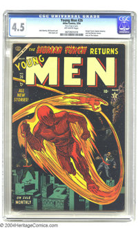 Young Men #26 (Atlas, 1954) CGC VG+ 4.5 Off-white pages. Human Torch cover/story. Art by John Romita Sr., Bill Everett...