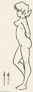Original Comic Art:Sketches, Frank Frazetta - Original Art Sketch, Standing Girl Nude in Profile (undated). A well balanced standing figure study. Note t...