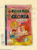 Original Comic Art:Miscellaneous, Warren Kremer - Original Production Art, Cover Color Guide forRichie Rich and Gloria #12 (Harvey, 1979). Richie serves up a...