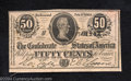 Confederate Notes:1864 Issues, 1864 50 Cents Bust of Jefferson Davis, T-72, Choice Crisp ...