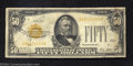 Small Size:Gold Certificates, 1928 $50 Gold Certificate, Fr-2404, Fine. This higher ...