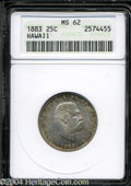 Coins of Hawaii: , 1883 Hawaii Quarter MS62 ANACS. ...
