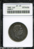 Coins of Hawaii: , 1883 Hawaii Half Dollar XF45 ANACS. ...