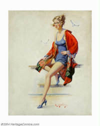 Reginald Bolles - Original Pin-up / Glamour Art (1925-1930). Most likely appeared as a magazine cover or calendar print...