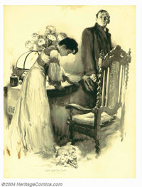 Walter Appleton Clark (1876-1906) Original Magazine Story Illustration (c.1900). For The Wolf of the City, with the (po...