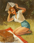 Original Illustration Art:Pin-up and Glamour Art, Forest Clough (1910-1985) Original Pin-up Art (1955-1960).. Titled on verso: Covered.. Oil on canvas, approximately 30 x...