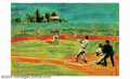 Original Illustration Art:Mainstream Illustration, George Guzzi - Attributed - Original Illustration Art (c.1970).This baseball painting was most likely published in the earl...
