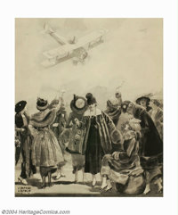 F. Foster Lincoln - Original Magazine Story Illustration (1919). Titled: A Dangerous Landing. Watercolor and mixed med...