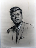 Original Illustration Art:Mainstream Illustration, Louis Lupas - Original Painting (1961-1963).. Portrait of 35th U.S.President John Fitzgerald Kennedy, drawn from life!. Pas...