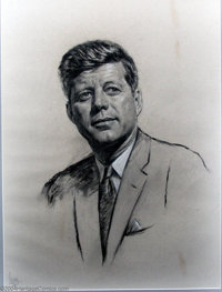 Louis Lupas - Original Painting (1961-1963). Portrait of 35th U.S. President John Fitzgerald Kennedy, drawn from life! P...