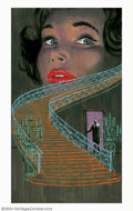 Original Illustration Art:Pulp, Pulp-like, Digests and Paperback Art, Lou Marchetti - Attributed - Original Paperback Cover Art (1963)..Ace G-503 - The Stairway by Ursula Curtiss.. Gouache ...