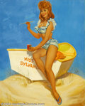 "Original Illustration Art:Pin-up and Glamour Art, Mayo Olmstead - Attributed - Original Pin-up Art (c.1960)..Appeared as part of the ""Miss Sylvania"" advertising campaign. It..."
