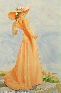 George Petty (1894-1975) Original Pin-up / Glamour Art (c.1937). Ad for Old Gold cigarettes, reproduced as a 44 x 32 adv...
